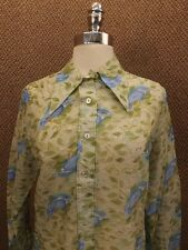 Lovely Vtg '60s Bluebird Print Nylon Chiffon Casual Shirt M NOS NEW Semi Sheer