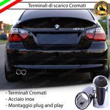 COPPIA TERMINALI DI SCARICO PER MARMITTA CROMATO INOX BMW SERIE 3 E90 E91