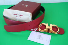 New Authentic Men's Ferragamo Reversible Belt Red Black XL Gold Buckle 90/36