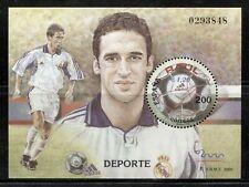 SPAIN 2000, SPORT: RAUL GONZALEZ - SOCCER PLAYER, Scott 3062 SOUVENIR SHEET, MNH