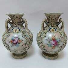More details for a pair of japanese nippon  moriage beaded, tri-handled vases. unmarked. c. 19th