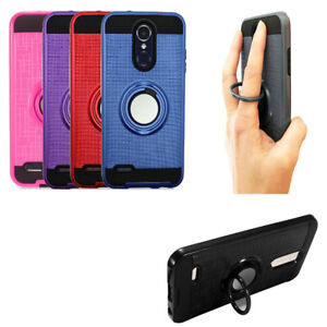 Phone Case For LG Xpression Plus - AT&T Dual-Layered Cover Ring-Stand