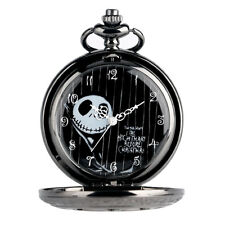 Black Necklace The Nightmare Before Christmas Gift Quartz Pocket Watch Flower