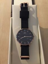 NEW DANIEL WELLINGTON Cornwall 32mm Rose Gold Classic Petite Black Women's Watch