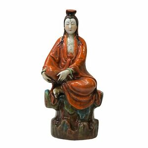 Small Vintage Finish Orange Off White Color Porcelain Kwan Yin Statue ws1587