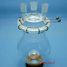 2000ml 24/29 Three Necks Glass Reactor,2L Lab Reaction Flask With Lid & Clamp
