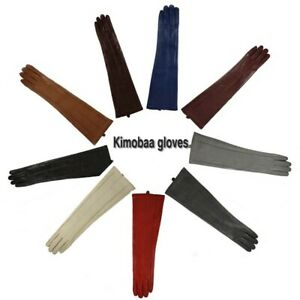 """women elbow 18.5"""" long real sheep leather long evening gloves multi colors"""