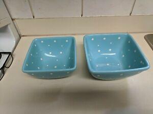 Temptations Ovenware by Tara Square Mixing Baking Bowls blue Polka Dot Set of 2