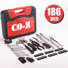 Professional 186 PCs Metric Carbon Steel Home Repair Tools for Household Use