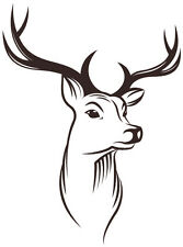 Deer Head with antlers Hunt Hunting Buck Vinyl Decal Sticker