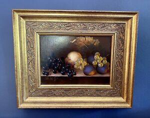 Josef Szabo Still Life Grapes Peaches Oil On Board. Hungarian Born 1934