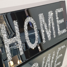 Crushed Diamond Crystal Mirror Glass Hanging Framed Wall Art HOME Silver