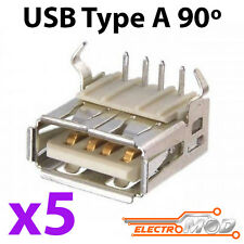 5x CONECTOR USB hembra tipo A 90º grados para PCB