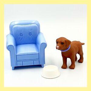 Mattel Happy Family Dollhouse Diorama Blue Seat, Dog, Dog Bowl