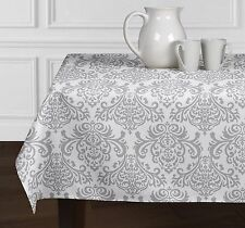 """Grey & White Damask Tablecloths Dining Room Kitchen Rectangle Oblong 60"""" x 102"""""""