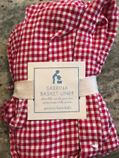 Pottery Barn Kids Sabrina Set of 3 XL Extra Large Basket Liners Red Gingham NEW