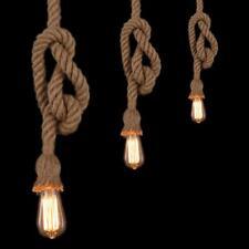 E27 Industrial Pendant Lamp Retro Vintage Edison Rope Ceiling Light Base