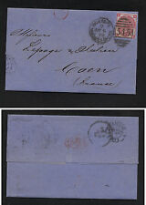 Great Britain 49 pl 10 on letter to France 1874 nice markings Rl0625