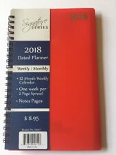 2018 Signature Dated Day Planner Calendar Appointment- Weekly Monthly RED 5X8