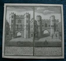 New-Gate and Cripple-Gate original copper engraving published circa 1700