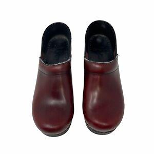 Dansko Red Leather Upper Womens Slip On Clog Mule Shoes Size EU 39