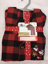 Disney Store Men SMALL Red Plaid Christmas Holiday Pajamas PJ Mickey Mouse