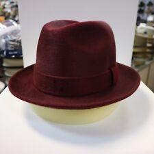 BORSALINO BURGUNDY LONG HAIR FUR FELT DRESS HAT *READ DESCRIPTN FOR SIZE