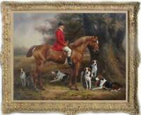 "Hand painted Old Master-Art Antique Oil Painting aga horse dog on canvas 30""x40"""