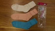 Vtg 3 Pr Lot Ladies School Girl Socks Textrured Cotton 9-11 NOS Anklets Slouch