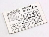Dash Fuse Box Diagram Card 98-10 VW Beetle - Genuine - 1C0 010 232 K