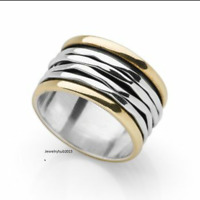 Solid 925 Sterling Silver Spinner Ring Meditation Ring Statement Ring Size EE260