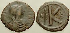 053. Byzantine Coin. Justinian I. Ae-1/2 Follis. Nicomedia. Fine