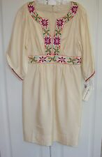 NWT Shoshanna eggshell silk embroidered peasant-style dress sz 8
