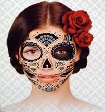 Day of the Dead Dia De Los Muertos Temp Face TATTOO Sugar Skull! Black Goth