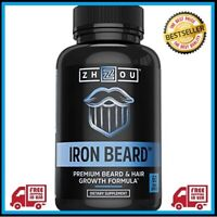 Zhou Nutrition Iron Beard, Beard Growth Vitamin Supplement for Men, 60 Capsules