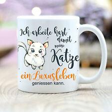 "T172 Wandtattoo-Loft Coffee Mug Cat "" Luxury Living "" Amusing Quote Animal"