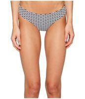 Onia 7505 Womens White Navy Lily Two-Tone Diamond Bikini Swimwear Size Large