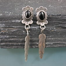 QT QUOC TURQUOISE Southwestern Sterling Silver 925 Black Onyx Feather Earrings