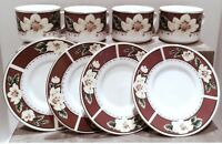 Gibson Cup and Saucer Set, Set of 4 Coffee Cup Set, Gibson Magnolia Bloom