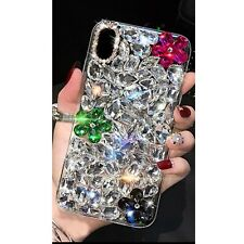MOBILE PHONE PINK CLEAR BLACK DIAMOND DESIGNER BLING DIAMANTE CASE COVER GIFT UK