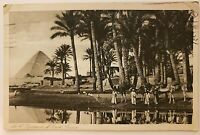 Egypt Vintage Postcard Cairo Pyramids of Gizeh Giza The Nile River Scene Natives