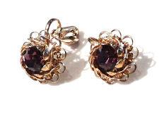 Bijou alliage doré boucles d'oreilles filigrane clips cristal améthyste earrings