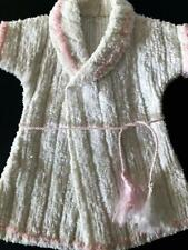 Vintage Chenille Dydee or Tiny Tears Robe Euc White Chenille with Pink Trim Tie