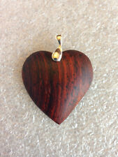 """Carved Cocobolo Wood Heart Pendant By JP Studios 1.5"""" inch"""
