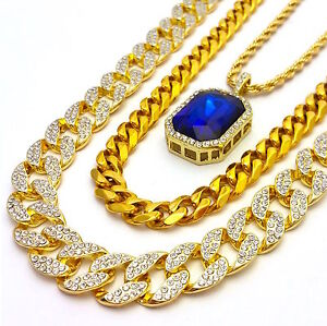 MENS LAB DIAMOND GOLD FINISH MIAMI CUBAN LINK CHAIN COMBO SET 3 NECKLACES