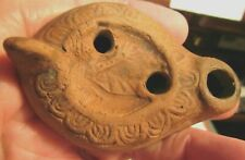 "Antique Roman Egypt Terracotta Clay Oil Lamp 2-3/4"""