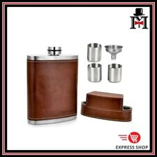 Brown Leather 8oz Hip Flask Whisky Vodka Bourbon Scotch Party Gift Bar Travel