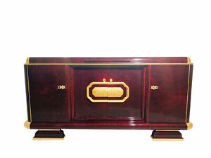 1920s Art Deco Sideboard Caucasian Walnut and Gold Leaf