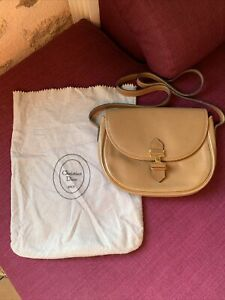 Vintage Christian DIOR Authentic Leather Shoulder Bag with Original Pouch France