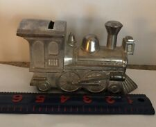 "Locomotive Piggy Bank Metal Train 6"" Long"